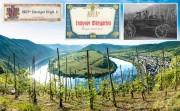 Moselwein zur Blütezeit zählte vor dem 1. Weltkrieg zu den teuersten Weinen auch international. Großes Bild: die Moselschleife bei Bremm, links die steilste Lage, der Bremmer Calmont. Bildnachweise siehe unten.