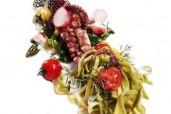 Geschmorter Oktopus mit Burrata-Créme, Gemüse und Tagliarini