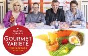 Das Gourmet Varieté im Heidelberger Schloss - von links: France Delon, Martin Scharff, Dierk Morelli, Mike Hayman. Unten: Dreierlei vom Lachs, California Style