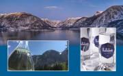 Hallstein Artesien Water: Wasser vom Feinsten und Reinsten. Ein echtes Geschenk der Natur. Hinten Mitte die 800-Seelen-Gemeinde Obertraun vor dem Dachsteingebirge, wo die Quelle liegt. Vorne der Halstätter See. Landschaftsfoto: Davidzfr - adobestock