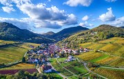 Blick auf Leinsweiler, Pfalz, südliche Weinstraße