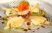 Spargel kulinarisch - mit Jakobsmuschel und Pfifferlingen