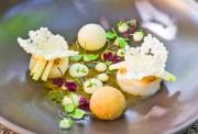Zauberhaftes Frühlingsrezept: Jakobsmuscheln, Spargelmousse, Weißwein-Sauce und Kresse