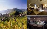 Links: Spitz in der Wachau, dort lädt das Weingut Donabaum ein. Rechts oben: Room im Weingut Il Palacio in Panzano in Chianti im Herzen der Toskana. Rechts unten: Genießen im Winzeranwesen Julius in Hainfeld/Pfalz.
