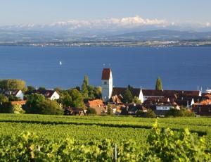 Hagnau am Bodensee mit Blick auf die Alpen