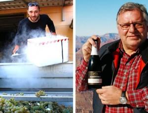 Links: Junior Thomas Peitz bei Kühlen von Sauvignon Blanc Lesegut mit Trockeneis. Rechts: Reinhard Peitz, der seinen Sekt angesichts des Grand Canyon präsentiert.