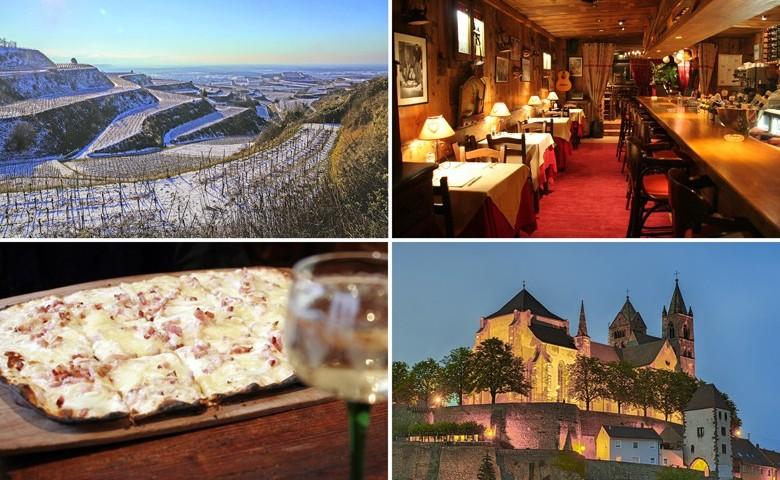 Kaiserstühler Rebterrassen, gemütliche Gaststuben, Flammekuchen mit Wein und das Breisacher Münster.