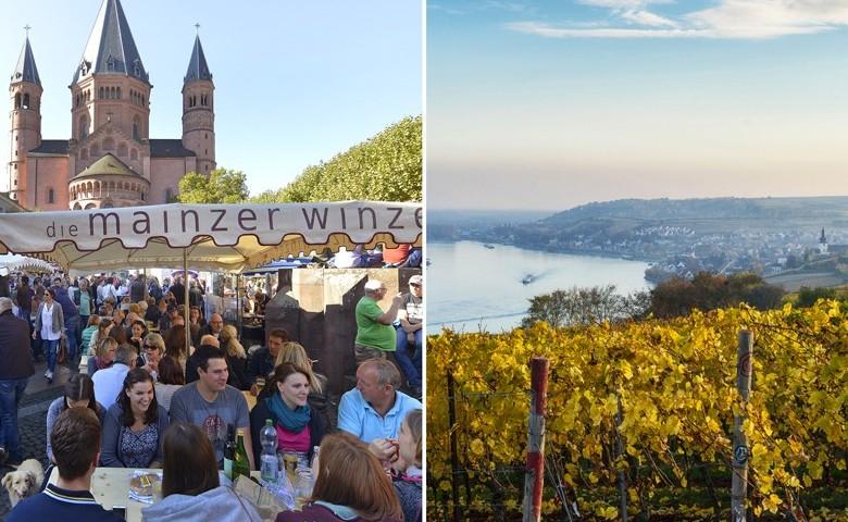 Links: Beim Mainzer Marktfrühstück. Rechts: Nierstein am Rhein