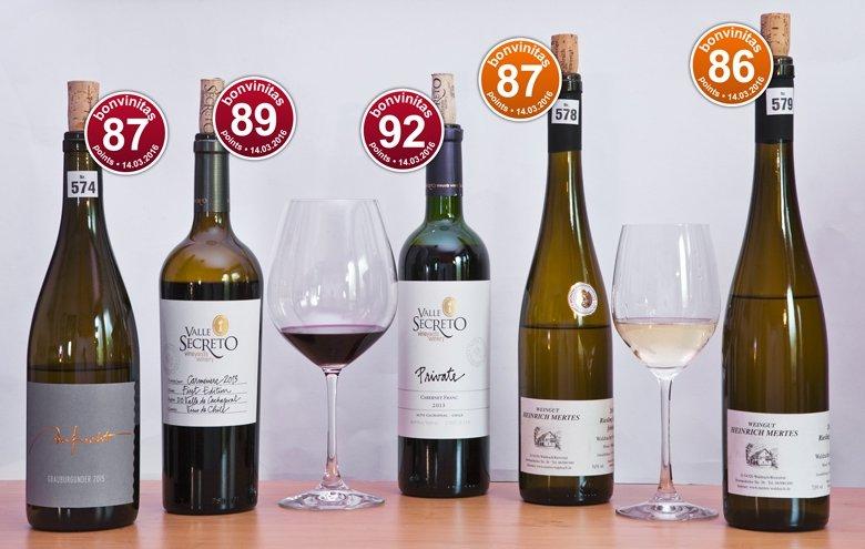 Beste Weine unserer Weinbewertung vom 14. März 2016