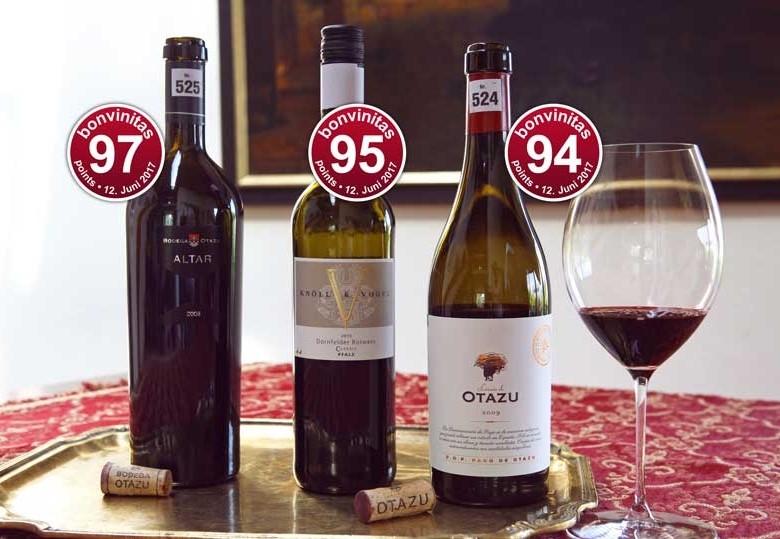 Die besten Rotweine der bonvinitas Weinbewertung 12.6.2017