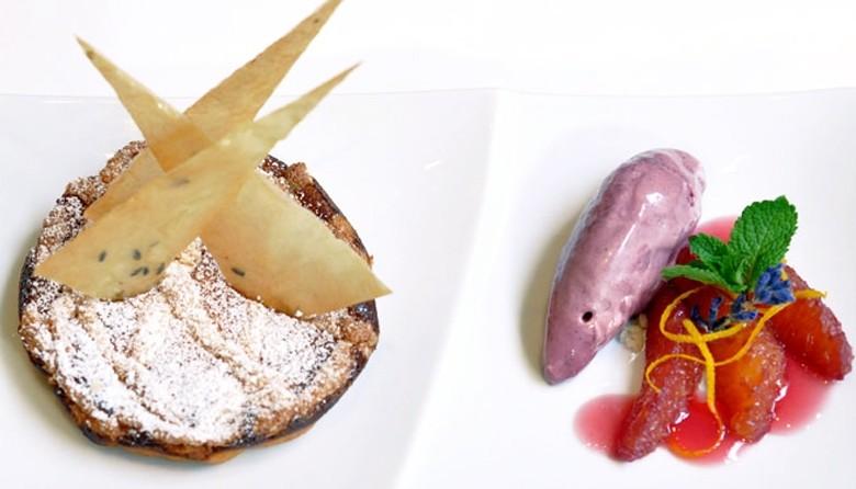Schaumomelette mit Lebkuchengewürz, dazu Glühweineis
