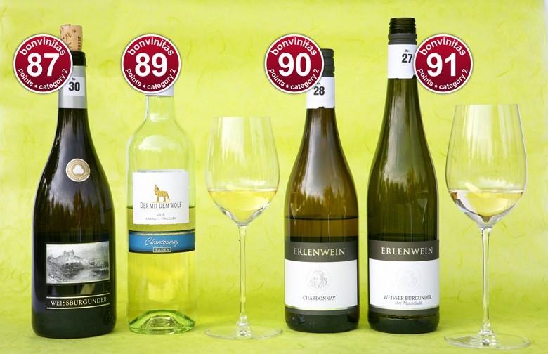 bonvinitas Weinbewertung 29.4.2019: Großartige Weißweine trocken super Weißburgunder und Chardonnay - schön zu Cremesuppen, Geflügelsalat, Gemüsepizza, Pfeffersteak …