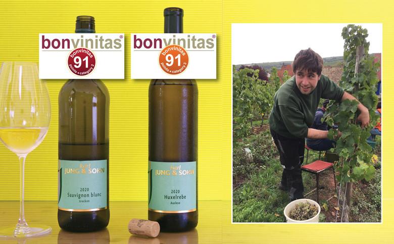 bonvinitas Weintipps: Weingut Karl Jung, Nierstein, eine Entdeckung je 91 bonvinitas Punkte: Sauvignon Blanc trocken und Huxelrebe Auslese - Sohn Johannes Jung bei der Weinlese