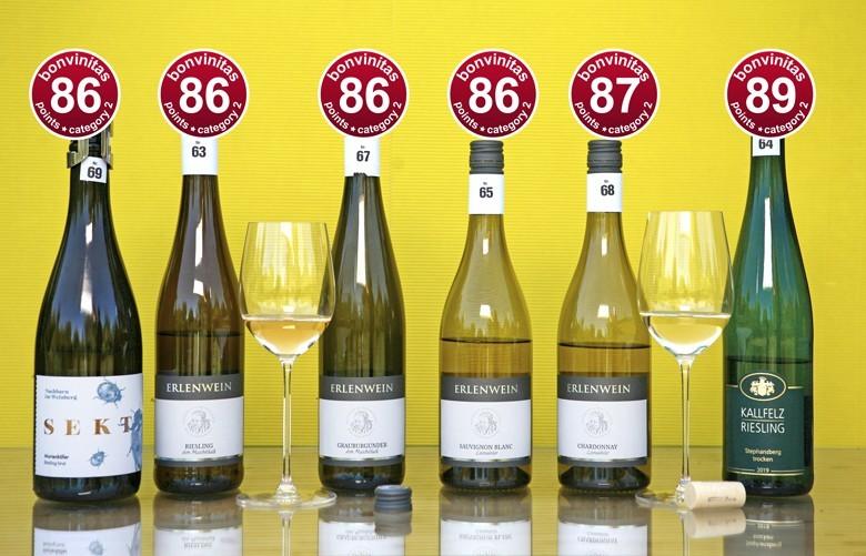 Weißweine trocken – sehr gute der Weinbewertung vom 15.6.2020. bonvinitas Kategorie 2 – trocken über 12 % Alkohol – rote Punkte