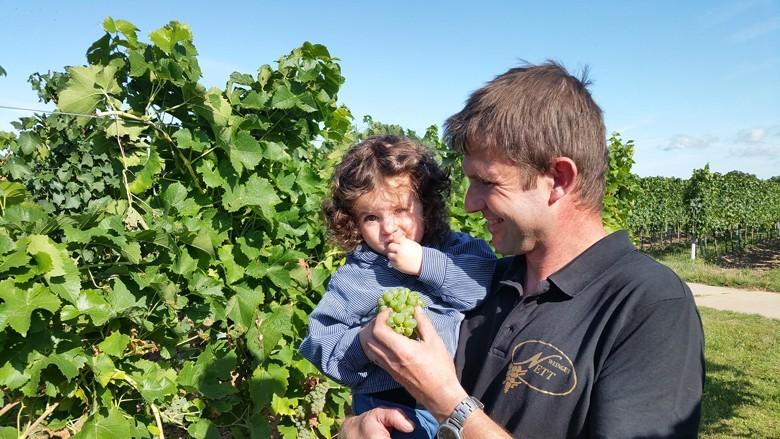 Winzer Gerhard Nett vom gleichnamigen Weingut in der Pfalz mit Tochter Leni beim Start der Federweißenlese 2019