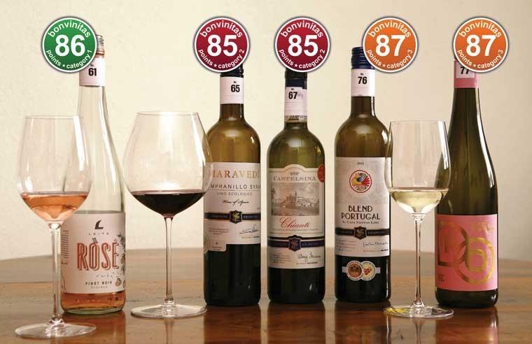 """Beste Weine bei Aldi Süd: aus der neuen Exquisite Collection - von den bonvinitas Prüfern am 6.3.2020 mit 85 und mehr Punkten als """"sehr gut"""" bewertet"""