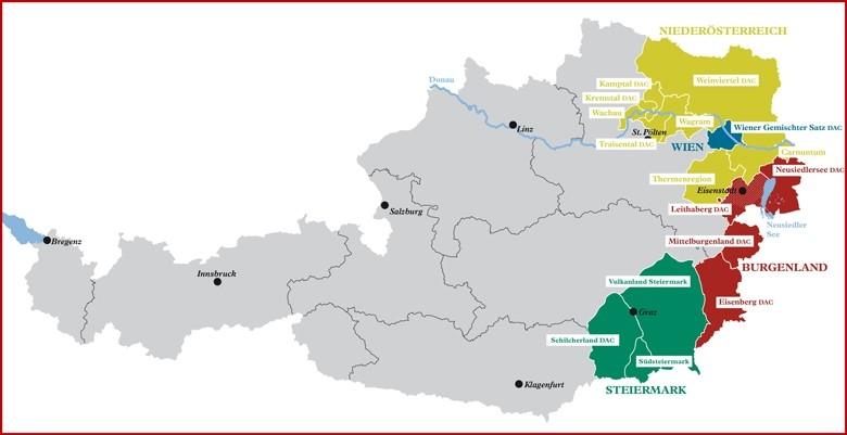 Österreichs Weinbaugebiete.