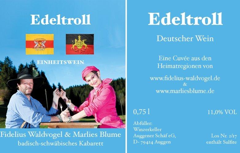 """Der Einheitswein """"Edeltroll"""" - Vorder- und Rückenetikett"""