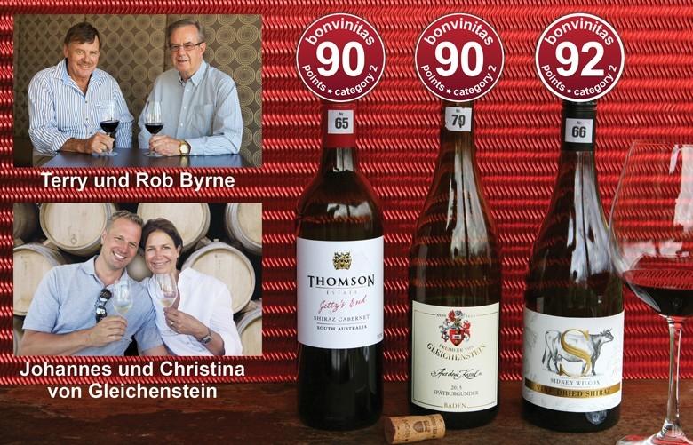 Beste trockene Rotweine der bonvinitas Weinbewertung vom 22.10.2018: Zwei sehr gute Australier sowie ein sehr schöner Kaiserstühler Spätburgunder