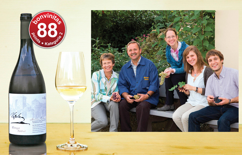 Gelber Orleans – die historische und wiederentdeckte Weißweinsorte - noch selten, doch gutes Muster aus dem Weingut Abthof, Hahnheim/Rheinhessen