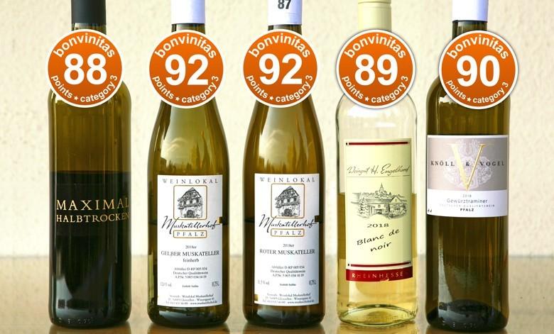 Ausgezeichnete mildere Weine – bis herrlich süß. Die besten der bonvinitas-Weinbewertung vom 25.2.2019 in der Kategorie 3