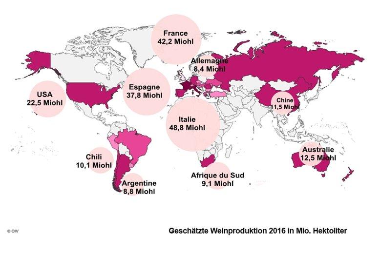 Quelle: OIV, Internationale Organisation für Rebe und Wein