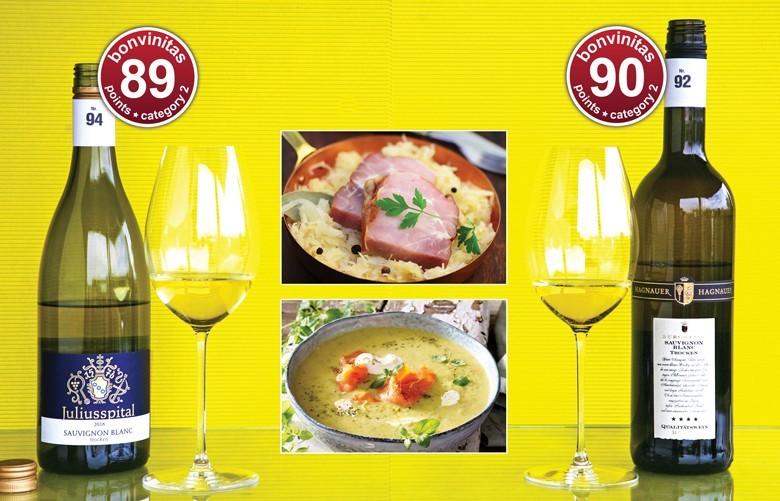 Sauvignon Blanc – hohe bonvinitas-Bewertungen. Prima zum Beispiel zu Kassler oder Kartoffelsuppe mit Lachs