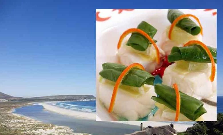 Fischwürfel an Mandarine mit Limette und Ingwer