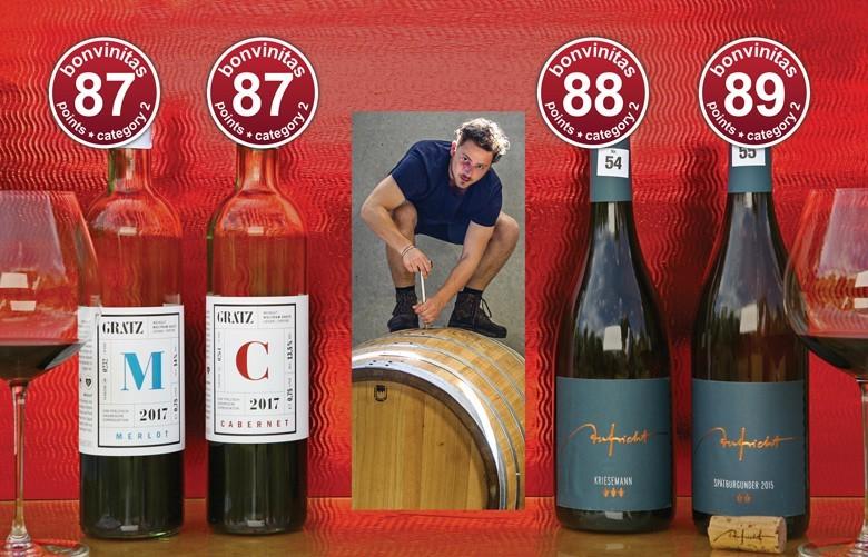 bonvinitas Weinbewertung: Beste Rotweine trocken. Probe vom 17.6.2019: hoch bepunktete Ungarn wie badische Spätburgunder. In der Mitte Johannes Aufricht vom Weingut Aufricht in Meersburg-Stetten/Bodensee.