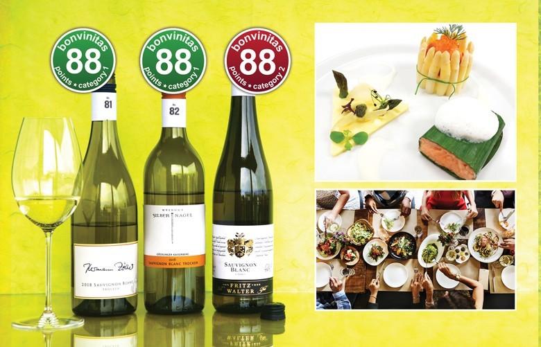 Regt geradezu an zur Kreativität: Sauvignon Blanc. Beste trockene nicht schwere Weine der bonvinitas Bewertung vom 1.4.2019