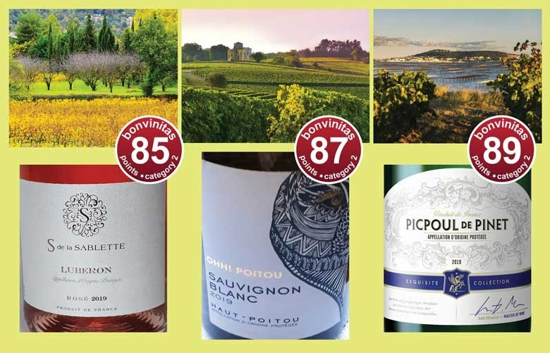 Weine bei Aldi Süd: Frankreich Rosé und Weiß - aus der internen bonvinitas Weinbewertung vom 30.3.2020. Fotos oben von links: Landschaften im Luberon, in Haute-Poitou und wo der Picpoul de Pinet gewachsen ist am Mittelmeer