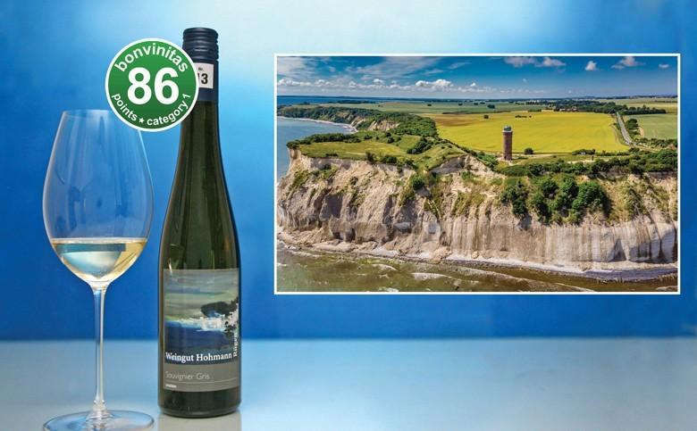 Der Wein, der Seeluft atmet – von der Insel Rügen vom Weingut Hohmann – Souvignier Gris mit 86 Punkten als sehr gut bewertet. Im Bild das Kap Arcona