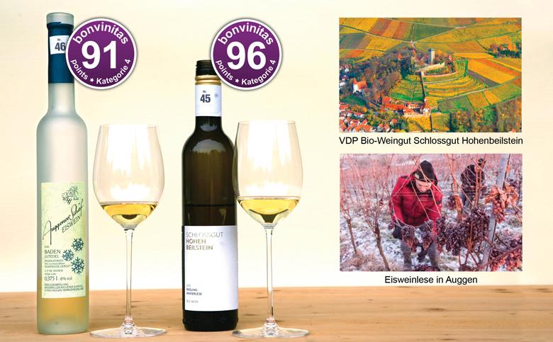 Zwei großartige edelsüße Weine: bonvinitas Weinbewertung 11.6.2018. Fotos: Schlossgut Hohenbeilstein Werner Kuhnle; Eisweinlese: Alexander Anlicker