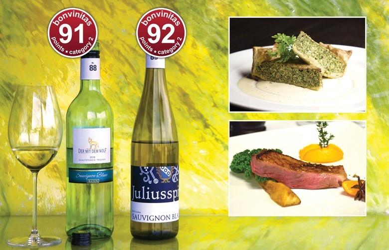 Beste Sauvignon Blanc der bonvinitas-Weinbewertung 1.4.2019. Prima zu Gemüse-Quiche oder zu Ente – Brust oder auch Braten