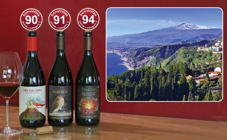 Drei großartige Rotweine vom Hang des Ätna die ersten von Donnafugatas neu kultivierten alten Weinbergen am Ätna