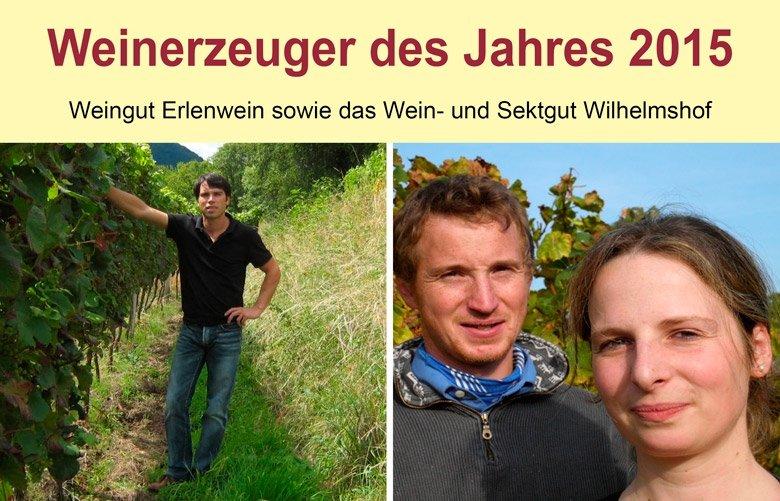 Links: Timo Erlenwein, Weingut Erlenwein; rechts: Barbara Roth und Thorsten Ochocki, Wein- und Sektgut Wilhelmshof.