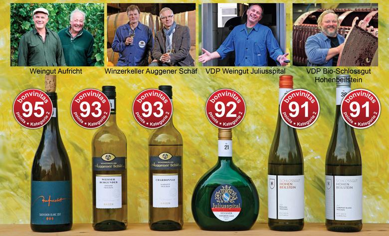 Die besten Weißweine der Kategorie 2 trocken, über 12% - aus der bonvinitas Experten-Blindprobe vom 11.6.2018.