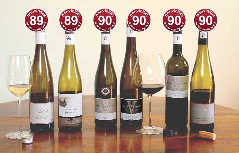 Sehr gute Weine: bonvinitas Weinbewertung 8.5.2020 – exklusivere Tropfen der Kategorie 2, trocken über 12 % Alkohol , rote Punkte – anspruchsvollere Weine