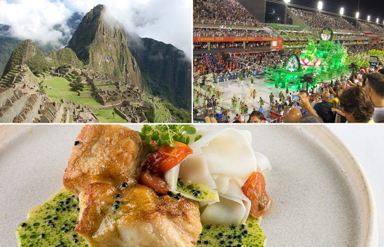 Auf den Spuren der 50 besten Restaurants Südamerikas. Von oben links im Urzeigersinn: Die Inkastadt Machu Picchu, Sambadrom in Rio, Restaurant Olymp in Rio, Nr. 27 der 50 besten Südamerikas.