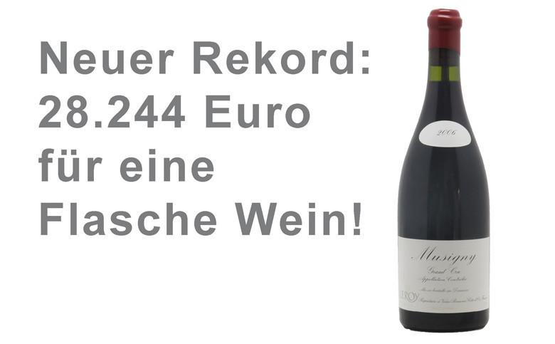 Neuer Rekord bei Weinversteigerungen: 28.244 Euro für eine Flasche 2006 Musigny der Domaine Leroy