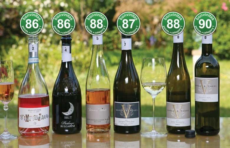 Sehr gute leichtere Weine aus der bonvinitas Weinbewertung vom 8.5.2020 in der Kategorie 1 – grüne Punkte, trocken bis 12 % Alkohol