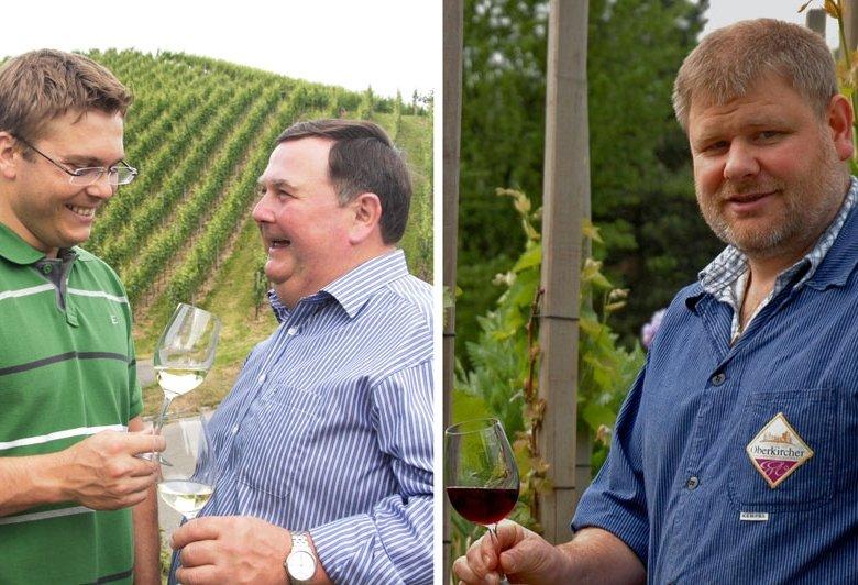 Von links: Thomas und Vater Alfred Männle vom Durbacher Weingut Andreas Männle; Kellermeister Martin Bäuerle, Oberkircher Winzer.
