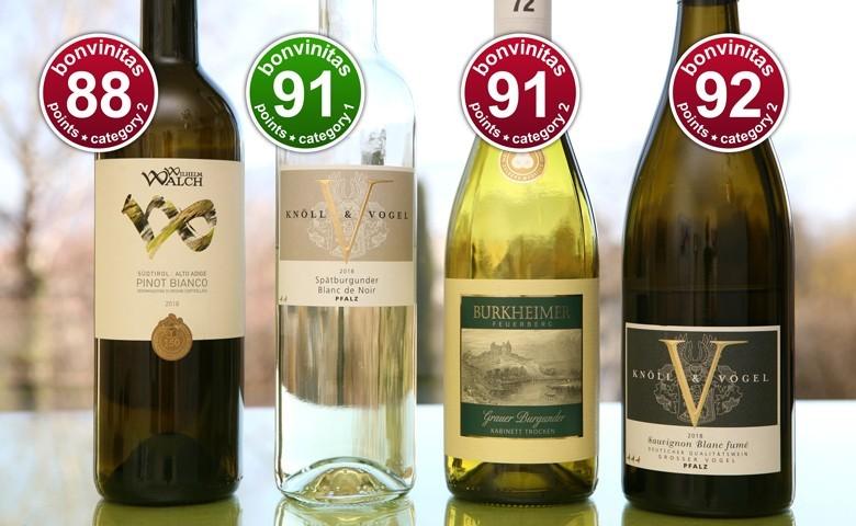 Die besten trockenen Weißweine der bonvinitas-Weinbewertung 25.2.2019 - und es braucht nicht immer viel Alkohol: 91 Punkte in der leichten Kategorie 1