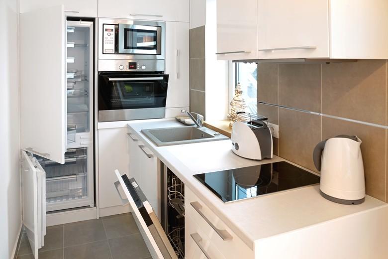 """Eine kleine topfunktionsfähige Küche mit allem drin auf technisch neuestem Stand, eine """"Lifestyle-Kompakt-Küche"""". Foto: Marko Beric, stock.adobe.com"""