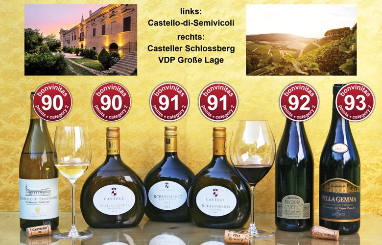 Super Weinentdeckungen der Redaktion - von der Domäne Castell sowie von Masciarelli: Trebbiano, Riesling, Silvaner, Montepulciano